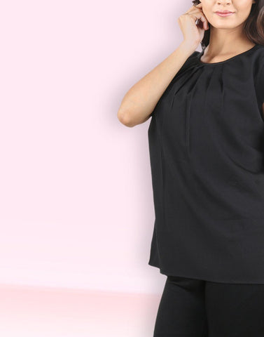 Black Solid Trending Top