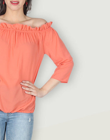 Orange Solid Simply Top
