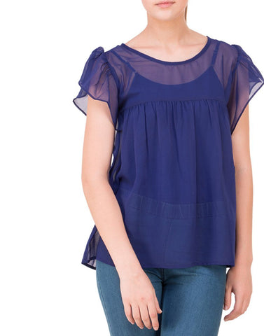 Dark Blue Solid Simple Top