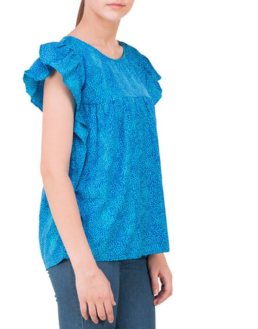 Blue Polycrepe Printed Top