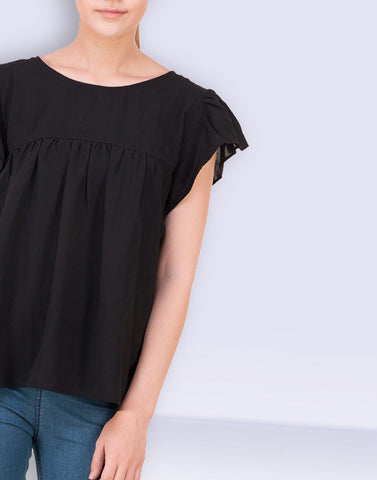 Black Solid Glam Top