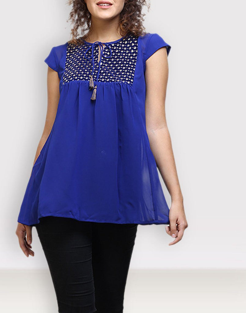Luxurious Blue Solid Top