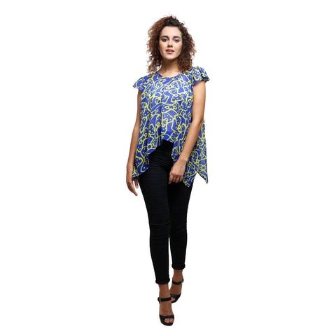 Blue Printed Stylish Top