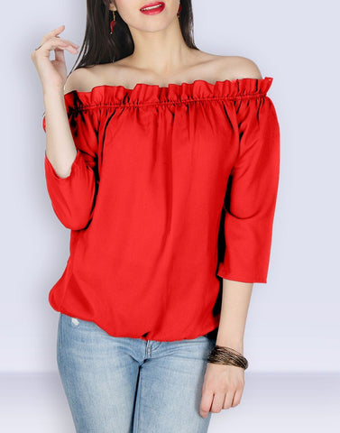 Red Solid Simply Top