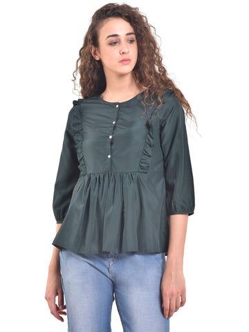 UVR Dark Green Solid Top