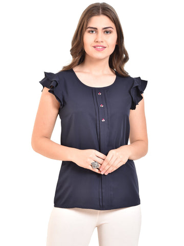 UVR Navy Blue Solid Top