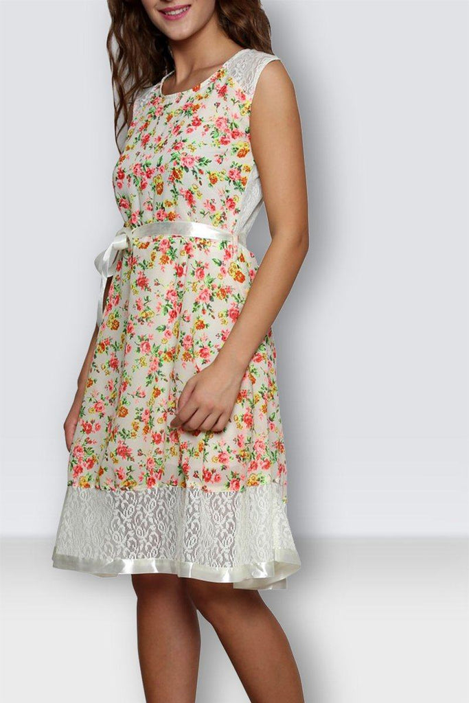 Printed White Women Dress