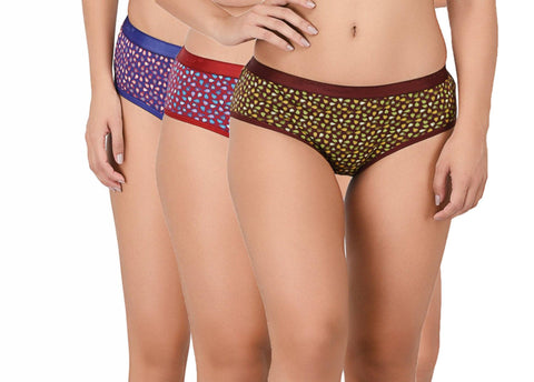 Red Lilly Chilly Printed Women's Everyday Pink,Blue & Green panty   (Pack of 3)