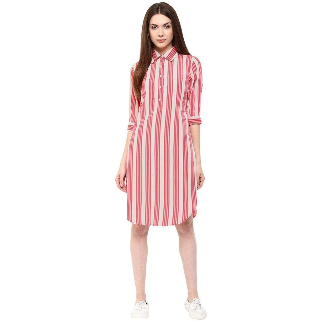 Collar Neck Shirt Striped Dress