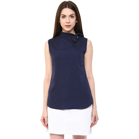 Slim Fit Tie Neck Solid Top