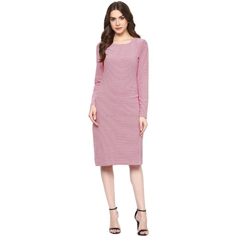 Light Pink  A-line Striped Dress