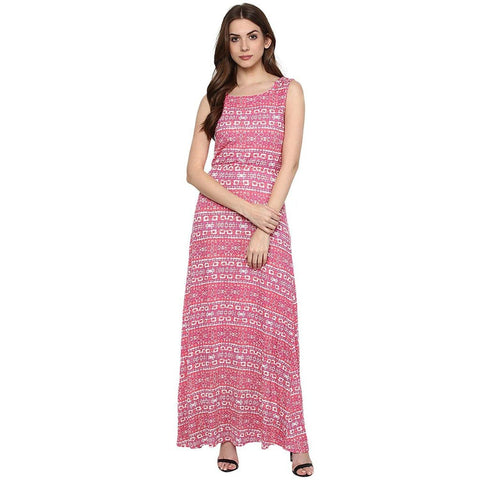 Pink Knit Maxi Printed Dress