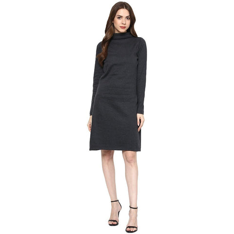 Slim Fit Turtle Neck Solid Dress
