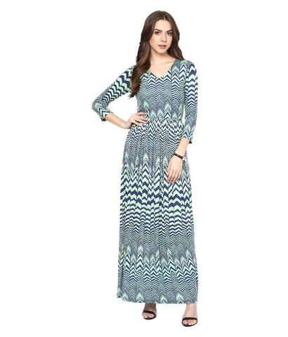 Slim Fit V Neck Maxi Printed Dress
