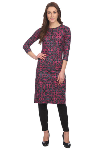 Pink and Black Casual Abstract Kurta