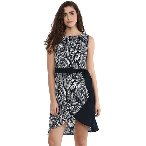 Sleeveless Overlap Printed Dress