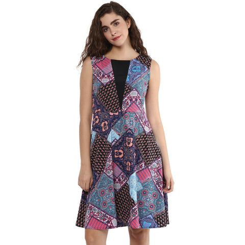 Multicolor A-line Printed Dress