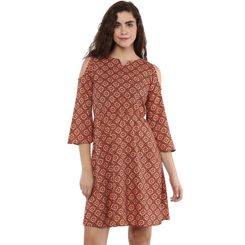 Cold Shoulder Designer Printed Dress