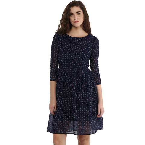 Boat Neck A-line Printed Dress