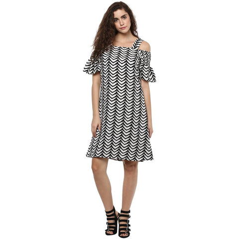 Off Shoulder A-line Printed Dress