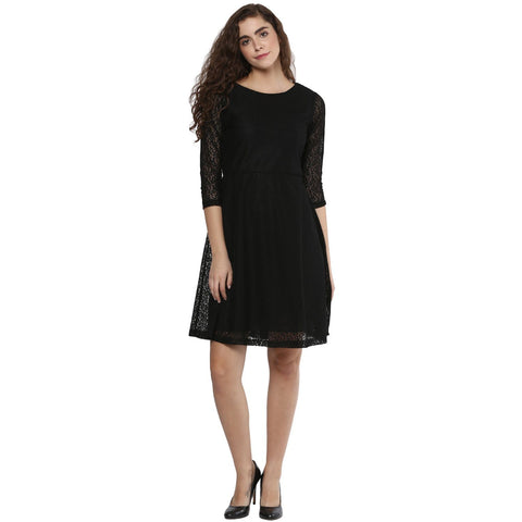 Round Neck A-line Solid Dress