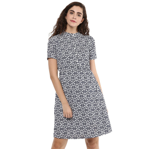 Chinese Collar A-line Printed Dress