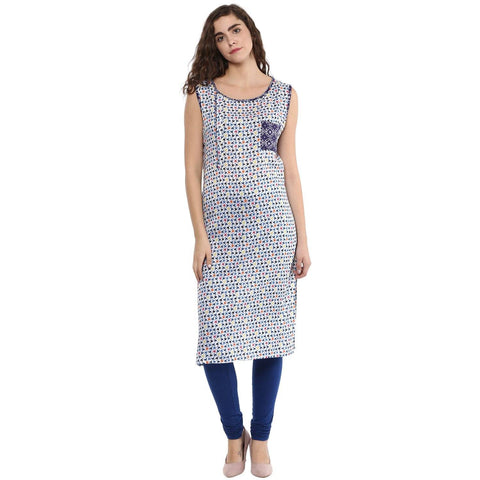 Casual Printed Kurta In Blue and White