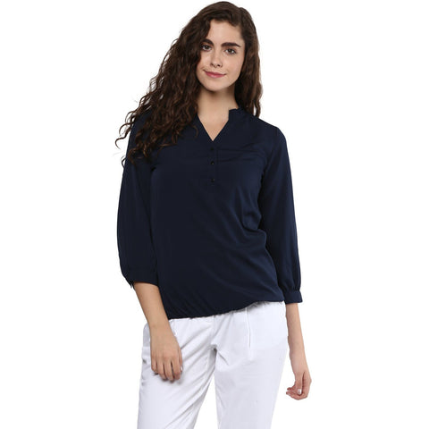 Navy Blue Formal Plain Top