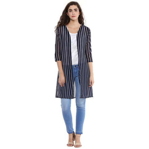 Slim Fit V Neck Long Striped Shrug