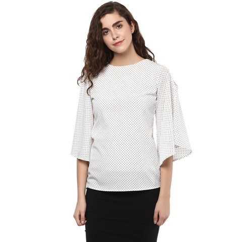 Boat Neck Flare Polka Dots Top