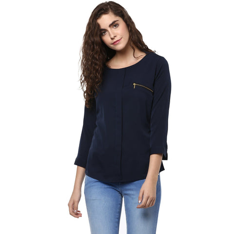 Round Neck Formal Solid Top