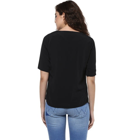 Black Crepe Casual Top