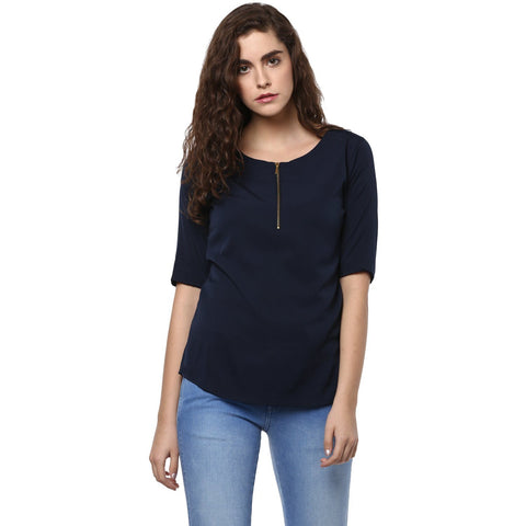 Navy Blue Casual Plain Top