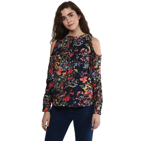 Cold Shoulder Boat Neck Printed Top