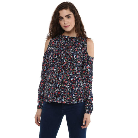 Multi color Cold Shoulder Balloon Top