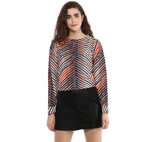 Multicolor Buttoned Printed Top