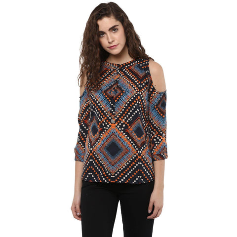 Multi Color Crepe Cold Shoulder Top