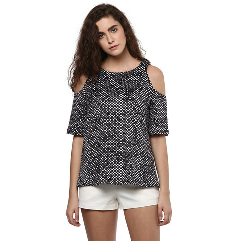 Polyester Knit Cold shoulder Top