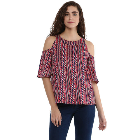 Multi color Cold Shoulder Printed Top