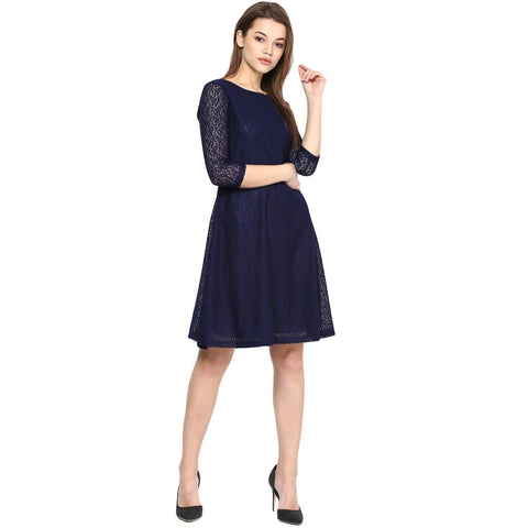 Navy Blue A-line Solid Dress