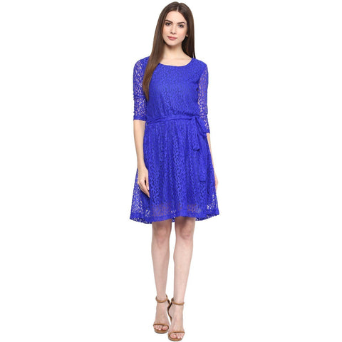 Blue A-line Solid Dress