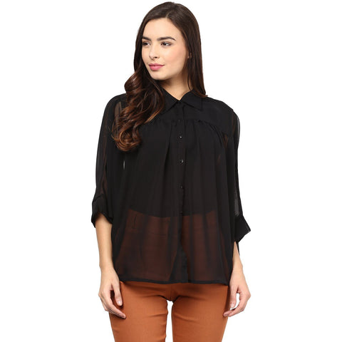 Neck Flare Plain Shirt