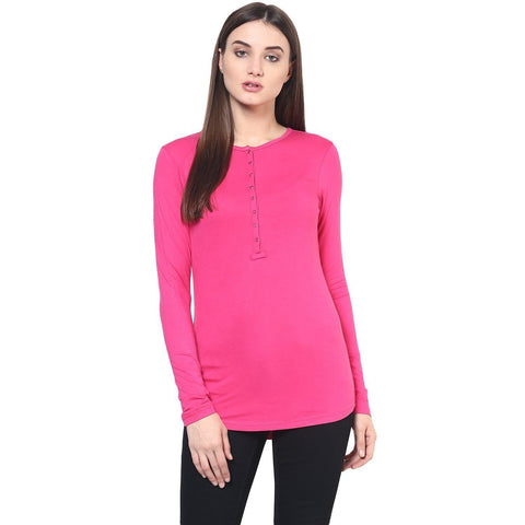 Pink Slim Fit Solid T-shirt