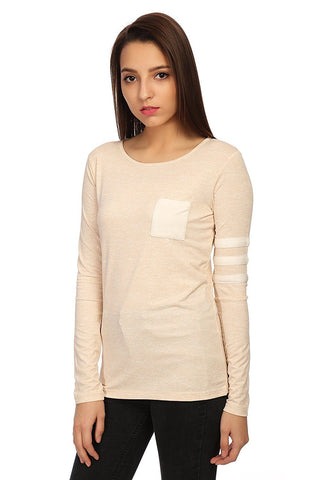 Beige Cotton Slim Fit T-shirt