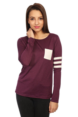 Purple Slim Fit Solid T-shirt
