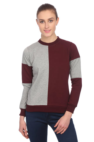Maroon and Grey Plain Sweatshirt