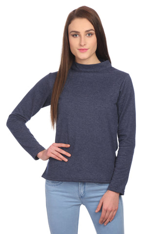 Solid Blue High Neck Sweatshirt