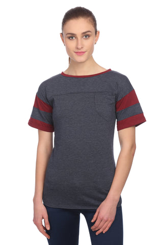 Round Neck Casual Plain T-shirt