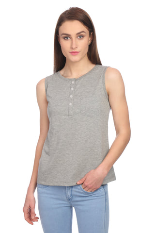 Casual Sleeveless Solid T-shirt
