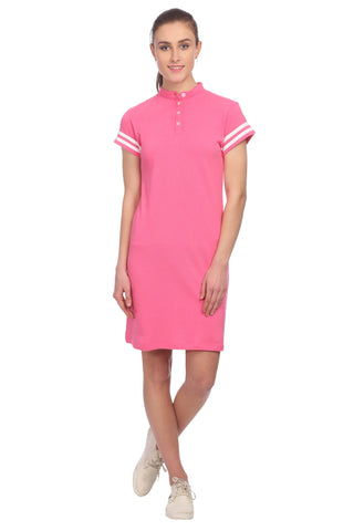 Pink T-shirt Solid Dress